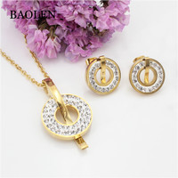 Beautiful Compass Shape Newest Fashion Italian luxury Band Imitation Women Jewelry Sets with Earrings Triangle Pendant Necklace