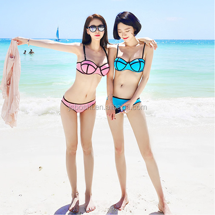 neoprene triangle swimwear hot korean teen girl bikini