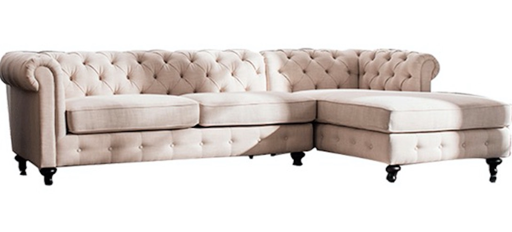 Sectional Sofa Beige Linen Chesterfield Tufted 5 Seats Living Room