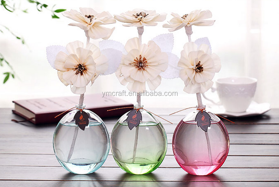 paper flower reed diffuser color glass bottle