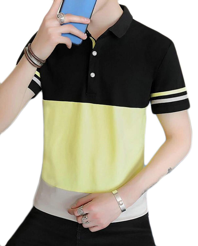 JXG Men Casual Short Sleeve Slim Fit Sport Fitness Contrast T-Shirt Tee