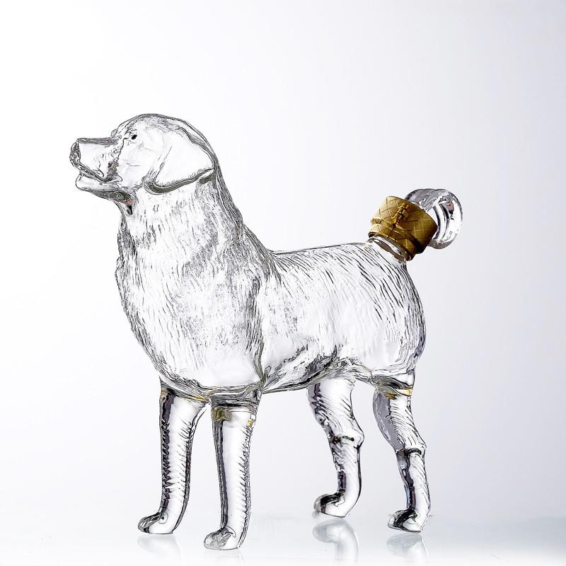500ml Handmade Borosilicate Animal Dog Shaped Glass Whiskey Bottle Glass Wine Decanter