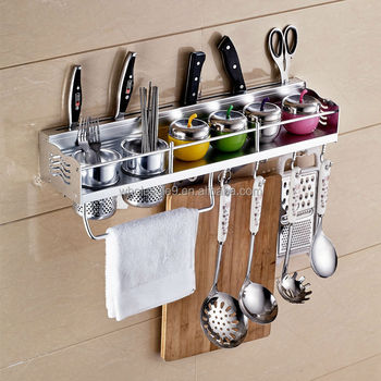 Latest Stainless Steel Kitchen Utensil Rack Knife Dish Spoon Holders Hanging With