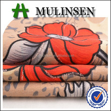 Mulinsen Textile 100% Polyester Fabric Printed Wool Peach With Silver