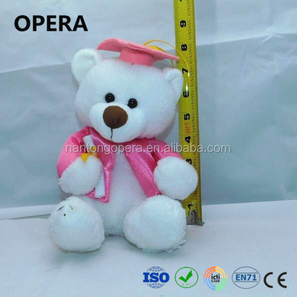 lovely design cheap hot white soft animal custom plush graduation bear doll