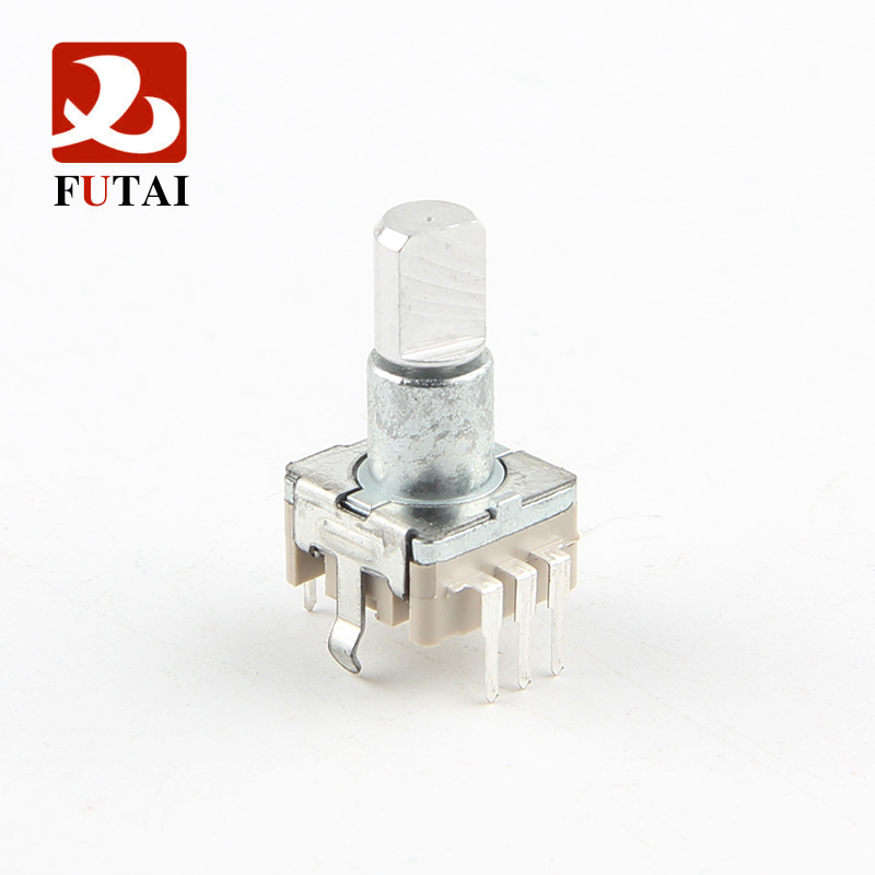 Futai EC11 Thick Case series 11mm Size Type Vertical Quadrature Incremental Metal Shaft Rotary Encoder with Switch and Bushing