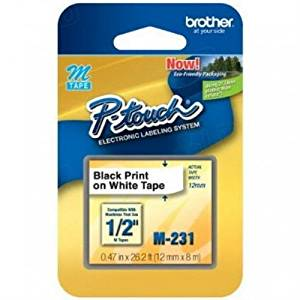 "Brother M231 Labels - 12mm (1/2"") Black on White Non-Laminated Tape (8m/26.2 Ft.) (1/Pkg) For use in M P-Touch: 55/65/70/80/85/90/100/110 (BrotherM231 )"