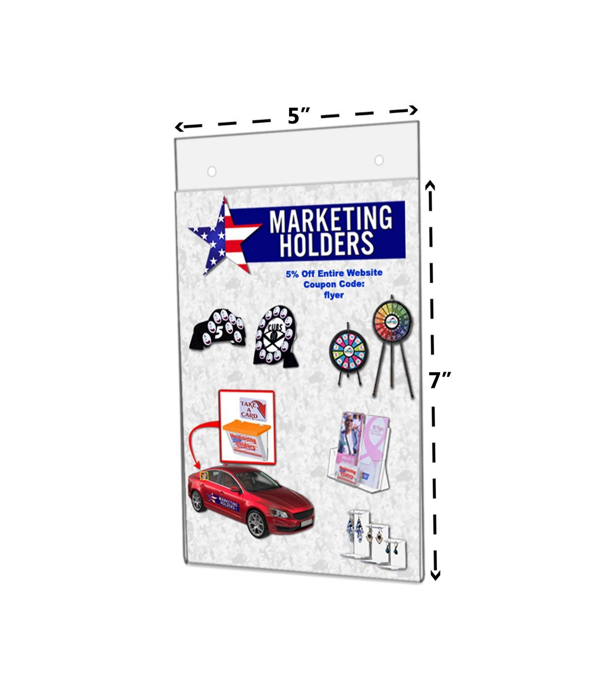 """Marketing Holders 5""""W x 7""""H Clear Acrylic Vertical Wall Mount Ad Frame/Sign Holder with Mounting Holes"""