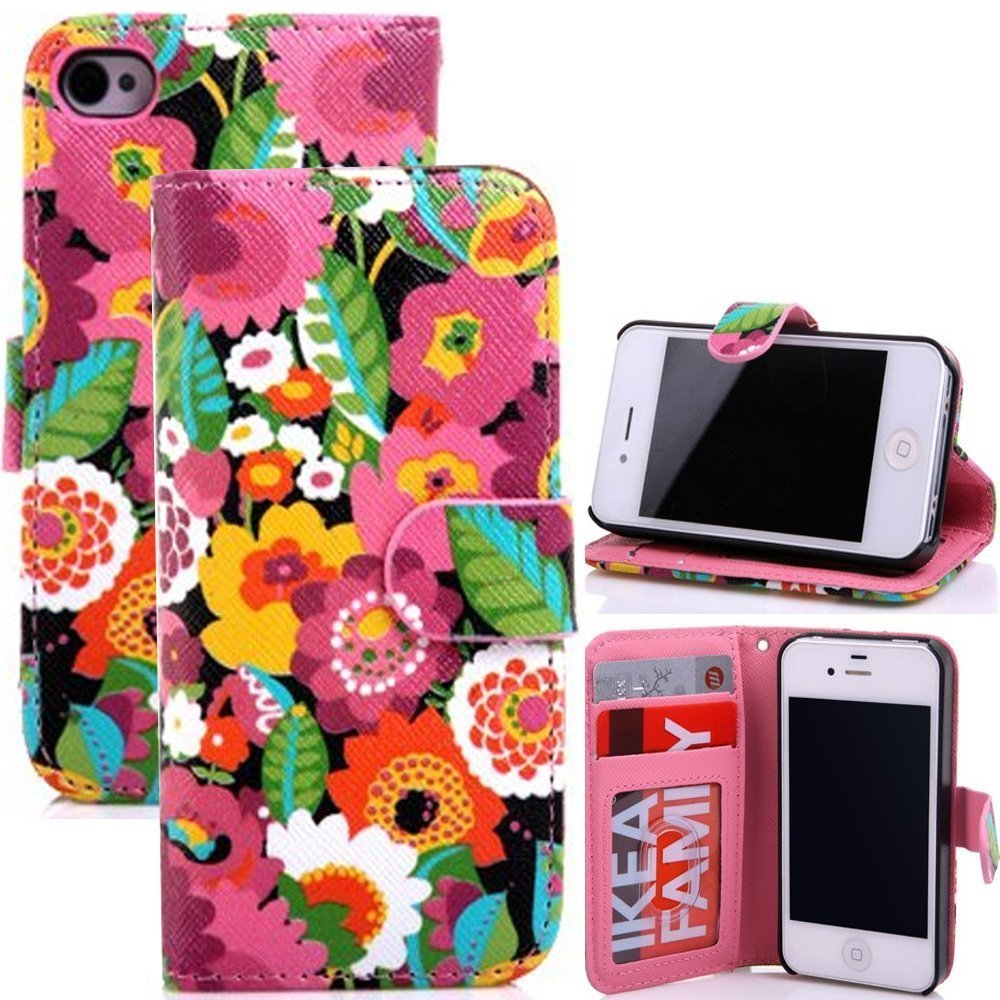 6 case,iPhone 6 case,iPhone 6 4.7 Case,Gotida Colorful Fashion flower PU Wallet Leather Case for iPhone 6 with 4.7 inch PU Leather Credit Card Holder Pouch Cover case,iphone 6 case cover,iphone 6 leather case,iphone 6 leather case cover 03