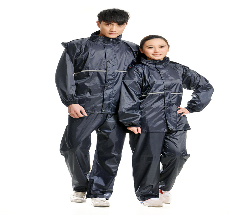 Heavy weight navy color 100% oxford raincoat for motorcycle riders