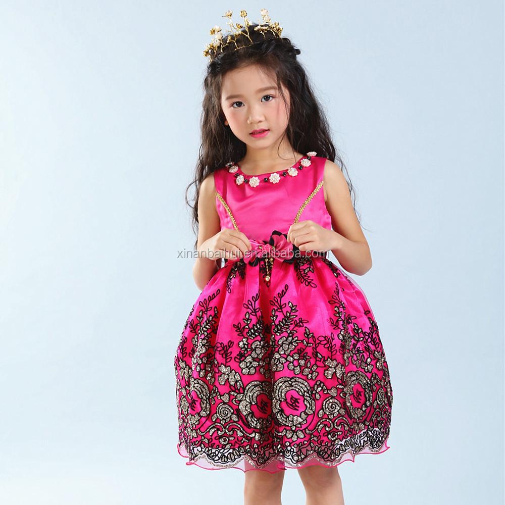 Rojo coreano niña princesa vestido niña vestidos de dama para niños ...