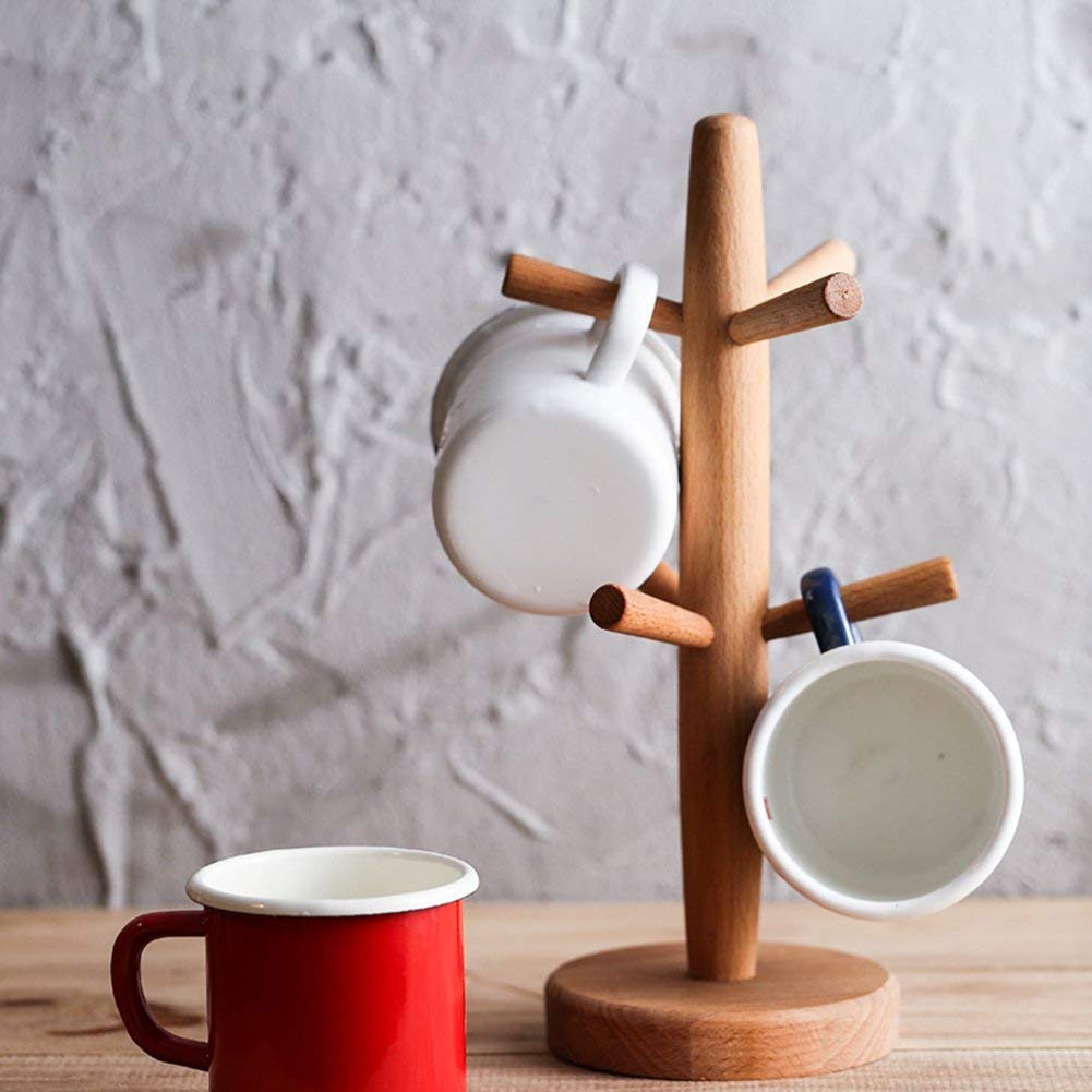 Get Quotations · Wood Mug Tree,Beech Cup Holder Creative Drain Rack Home  Coffee Mug Rack Storage Rack