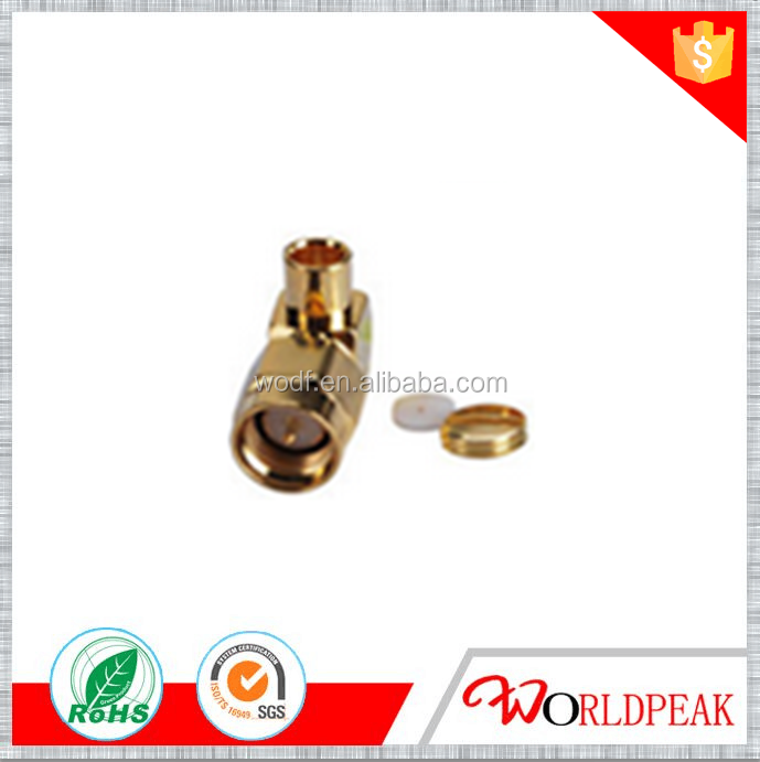 SMA male right angle connector for .141 /RG402 cable