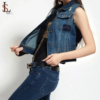 61139bd730b Wholesale Women s Jackets Coats Women Sleeveless Wash Denim Vest Jacket -  Buy Sleeveless Jacket