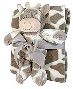 Stephan Baby Super-soft Coral Fleece Crib Blanket and Plush Toy Gift Set, Ginny Giraffe by Stephan Baby