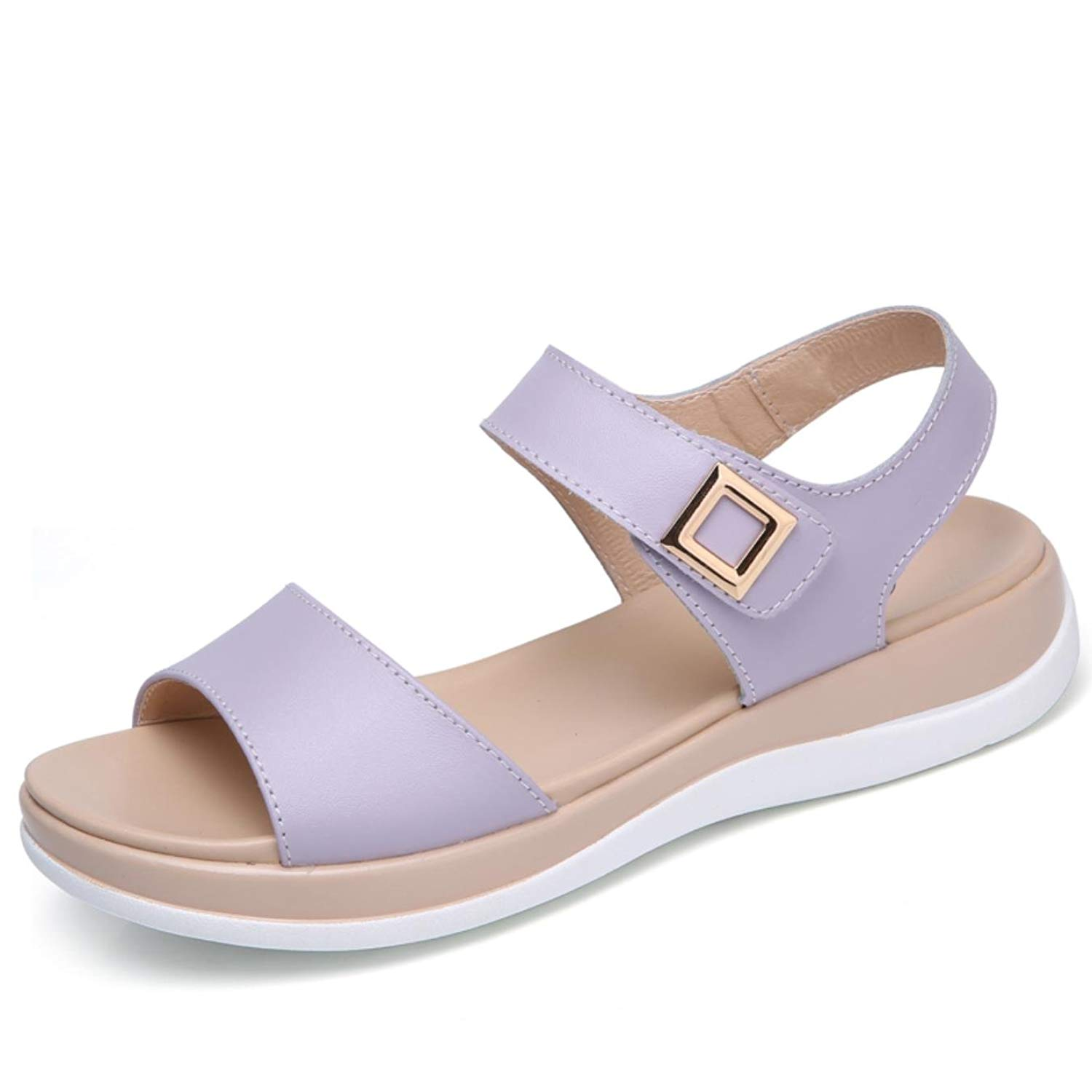 098abf387862 Get Quotations · Women sandals shoes concise genunie leather soft  comfortable flat sandals ladies orchid casual sandals