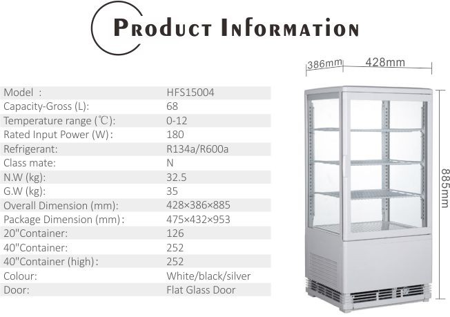 68L High Quality Glass Door Refrigerator with CE UL RoHS ETL