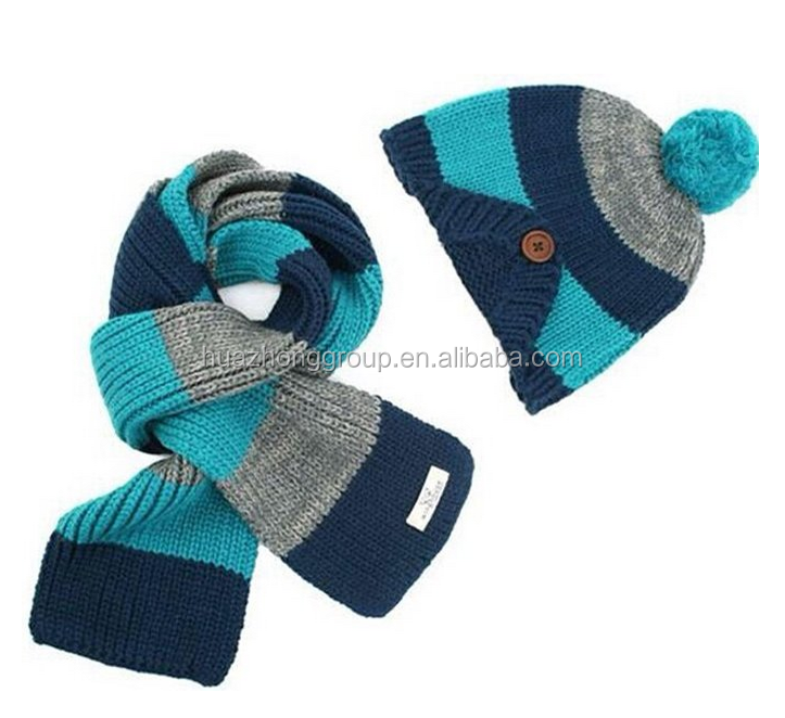 High Quality Warm Kids Boys Girls Colorful Stripe Hat/Scarf/Glove Set