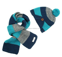 High Quality Warm Kids Colorful Stripe Hat Scarf Glove Set