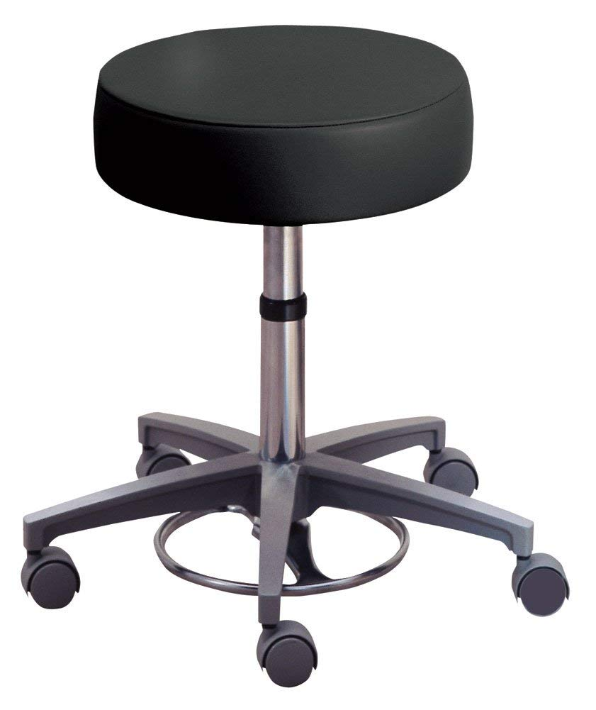 Foot-Operated Adjustable Stool with Safe-Brake Casters