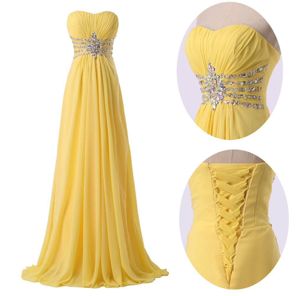 1ee677bb8e81 Get Quotations · Free Shipping Stunning Beaded Floor Length Yellow Chiffon Sequin  Celebrity Prom Wedding Party Long Bridesmaid Dress
