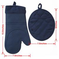 MEITA HOME Silicone Oven Mitts and Pot Holder with Silicone Shell and Nice Lining Blue