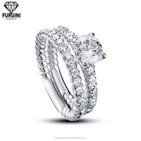 Round Brilliant Fine Quality Cubic Zirconia Rope Solitaire Ring In 925 Sterling Silver
