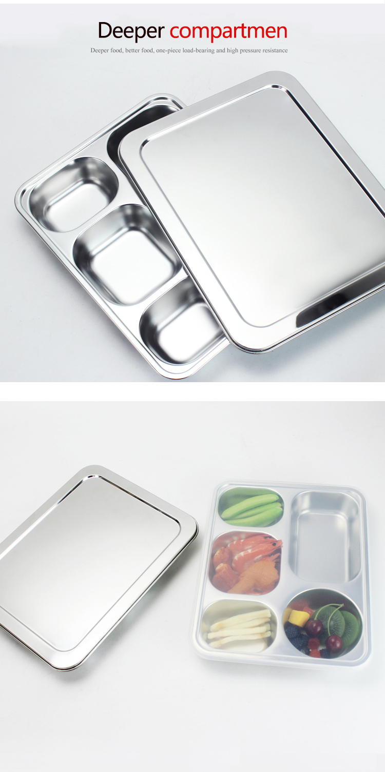 wholesale price stainless steel 5 compartment dinner plate/ service plate/food tray with lid