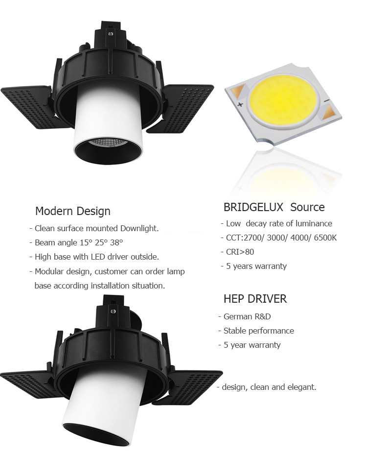 2700K 3000K 4000K 6500K Adjustable 6W 9W Square COB Recessed LED Down Light
