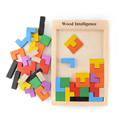 Colorful Wooden Tangram Brain Teaser Puzzle Tetris Preschool Magination Intellectual Educational Kids Toy For Game Baby