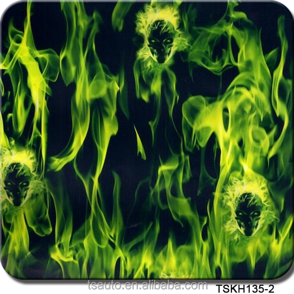 TSAUTOP 0.5/1m width flaming skull hydrographics film water transfer printing film