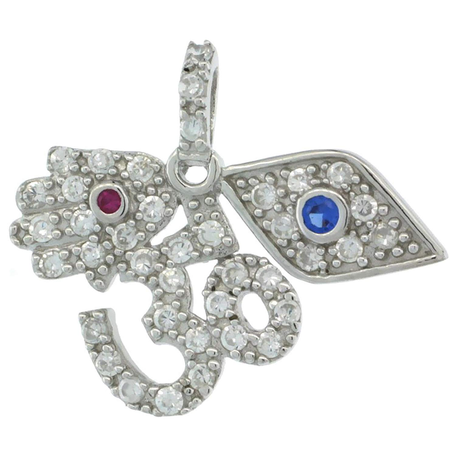 Sterling Silver OM Aum, Hamsa, Evil Eye Pendant w/ Cubic Zirconia Stones, 15/16 in. (24mm) wide