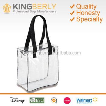 Fashion Large Black Strap Women Handbags Pvc Designer Clear Tote Bags