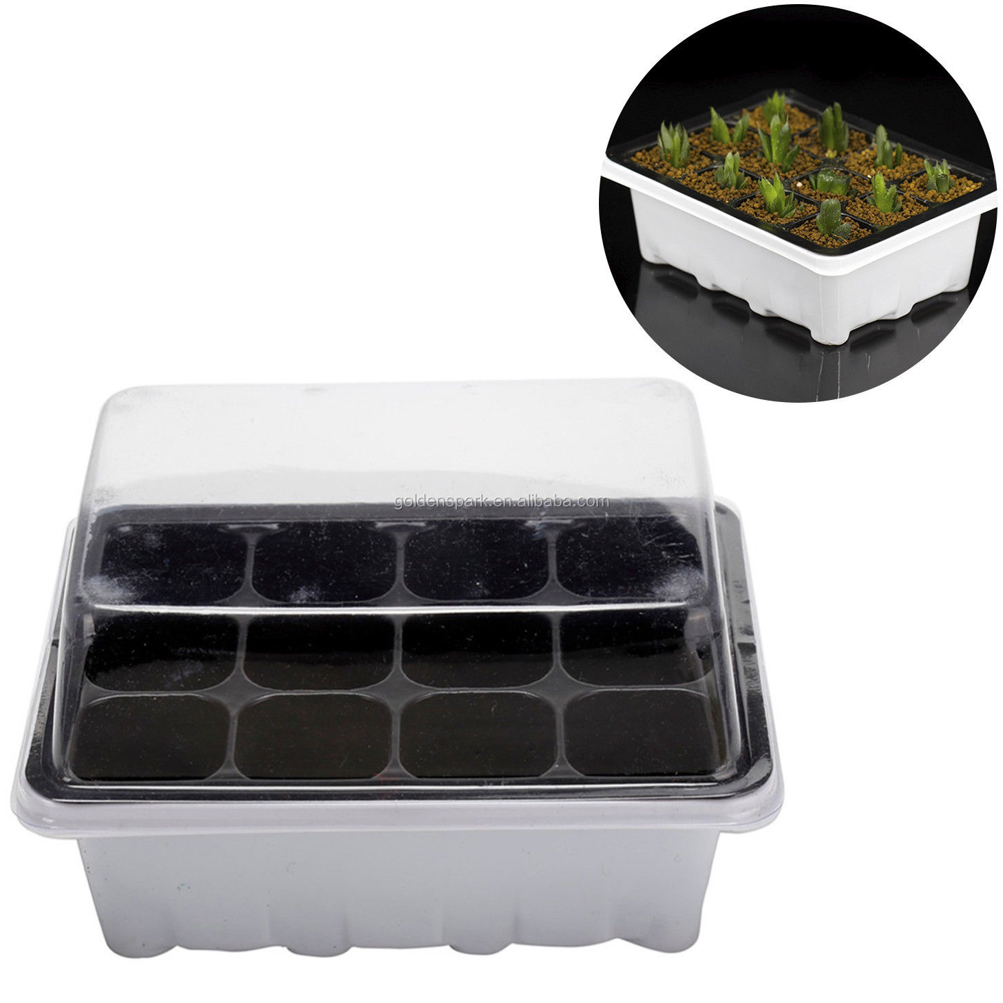 Outdoor Grow Box Garden Tools 12 Cells Hole Nursery Pot 3 pieces Set Plant Seeds