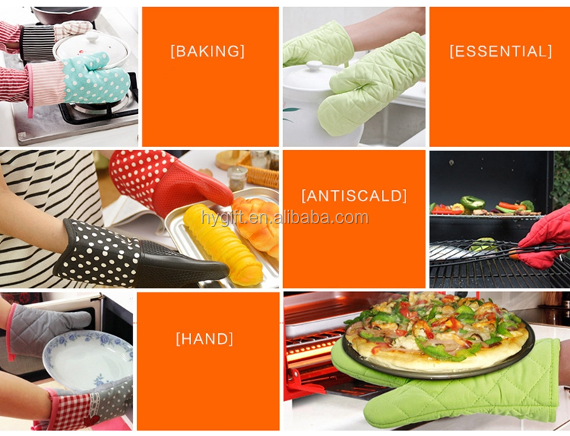 100% cotton fabric non-slip washable oven gloves with full printing