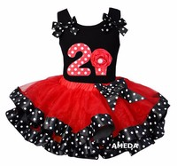 Red Black Polka Dots Satin Trimmed Tutu with Number 2 Cupcake Hot Pink Tank Top