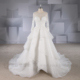 XY-17046 2017 Long sleeve illusion collar rhinestone turkish wedding dress