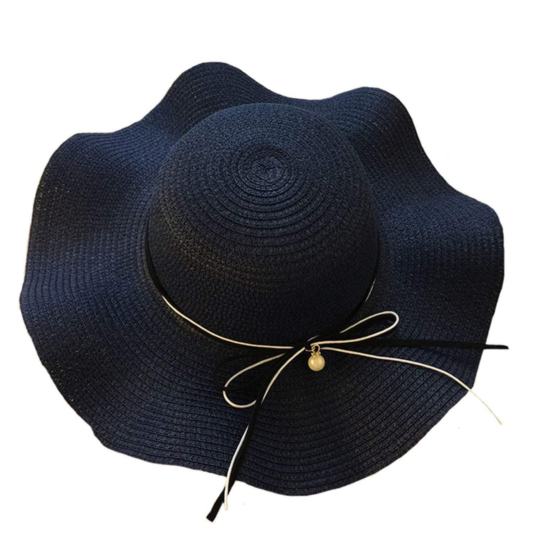 ec8707be9c55ef Get Quotations · Eric Hug hat Womens Straw Hats Wide Brimmed Summer Elegant  Panama Hat Ladies Beach Spring Fashion