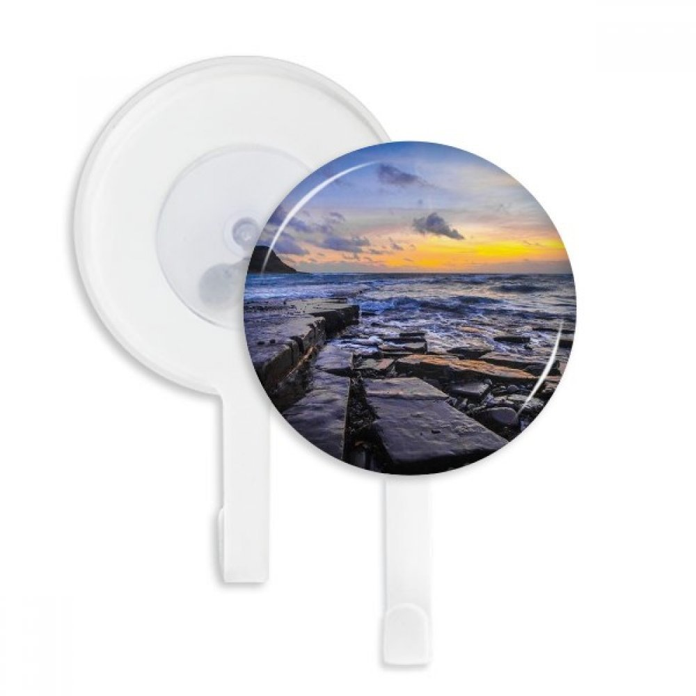 Ocean Stone Water Science Nature Picture Sucker Suction Cup Hooks Plastic Bathroom Kitchen 5pcs Gift