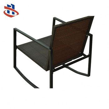 Garden Outdoor Metal Legs Rattan Rocking Chairs