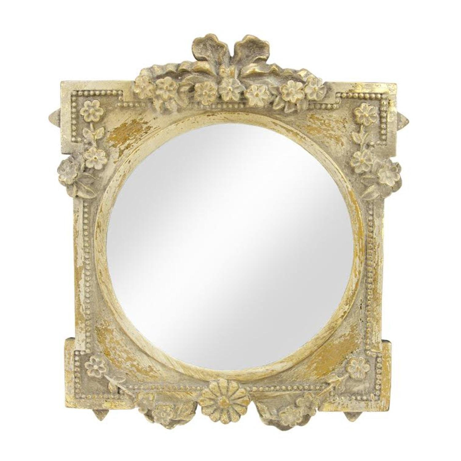 7b556b8e5a59 City Chic Decorative Round Antique Style Gold Wall Mirror with Floral  Accented Square Frame 10