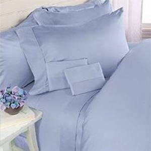 Deluxe' Solid Bed Sheet Set 100 Percent Egyptian Cotton Fine Single Yarns 1800 Thread Count Features Indulgently Soft Surface with a Lovely Sheen!! Set includes Fitted, Flat and Pair of Pillow Cases. Deep Pocket Fitted Sheet up to 18 Inches (King, Blue)
