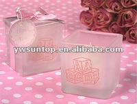 Pink ABC Baby Blocks Gift Box Square Glass Candle Tealight holder