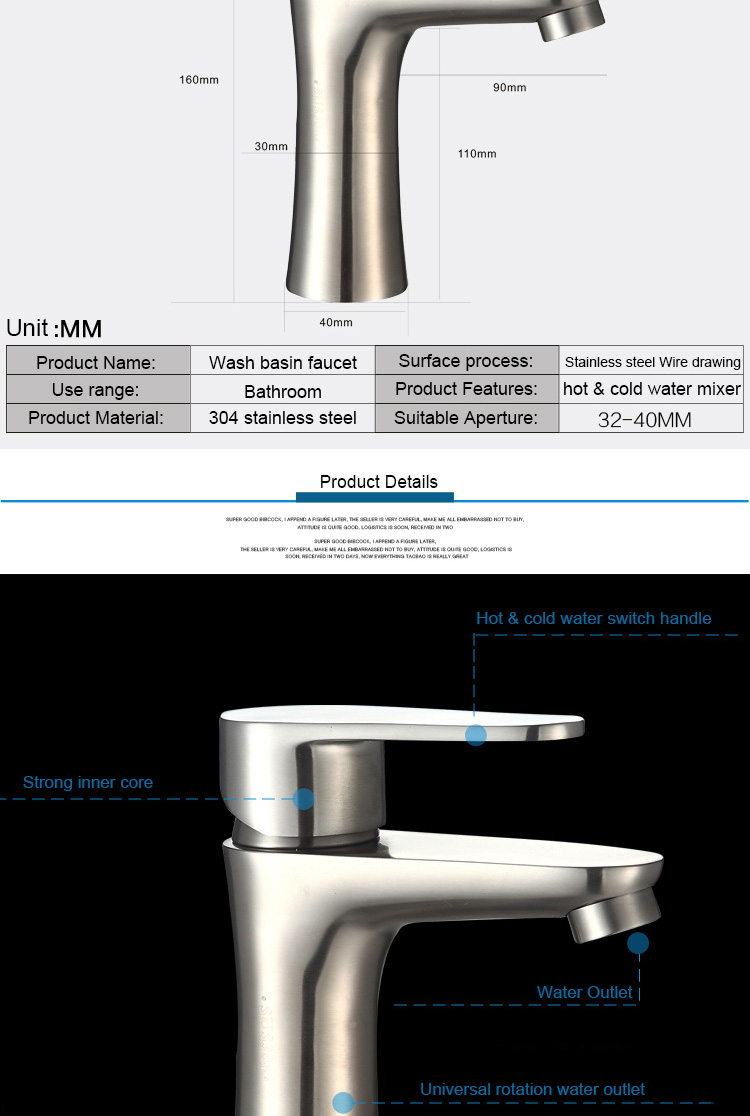 Hot Selling Lead-free Wash Hand Basin Tap Hot & Cold Water Mixer Faucet