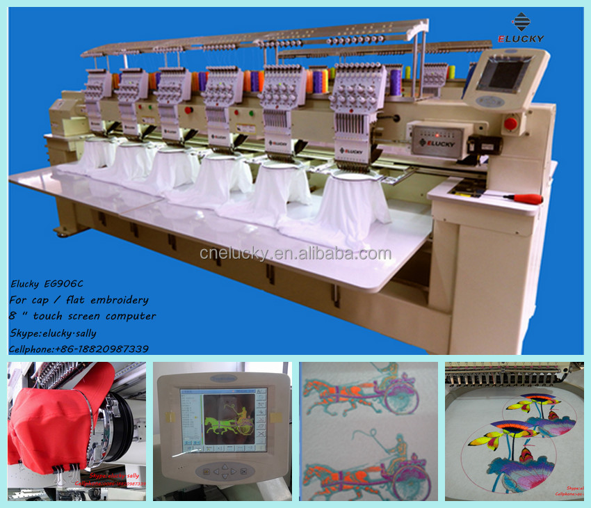 Elucky 6 Heads Computer Embroidery Machine Price Machine Embroidery