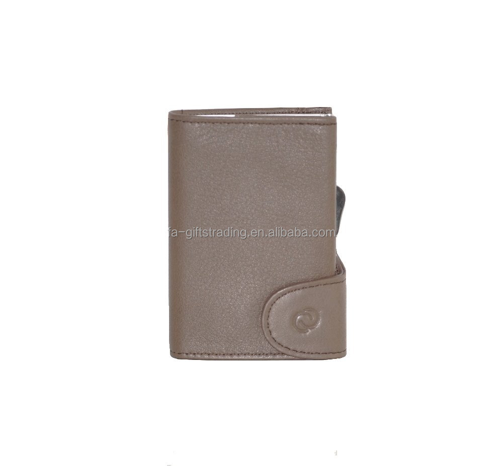RFID Blocking Genuine Leather Credit Cards Holder Wallet Italy Leather RFID Shielded Card Wallet Taupe