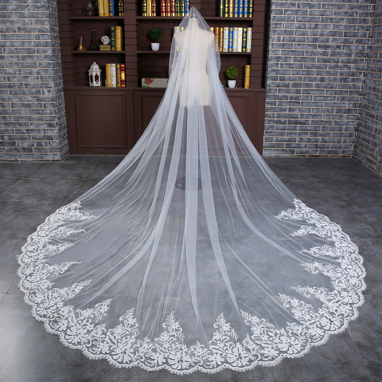 WAP01 Wedding Veils Long Lace Bridal Veil Wedding Accessories Bride Mantilla Wedding Veil