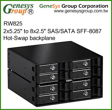 "RW825, 2x5.25"" to 8x2.5"" SAS/SATA SFF-8087 Hot-Swap backplane"