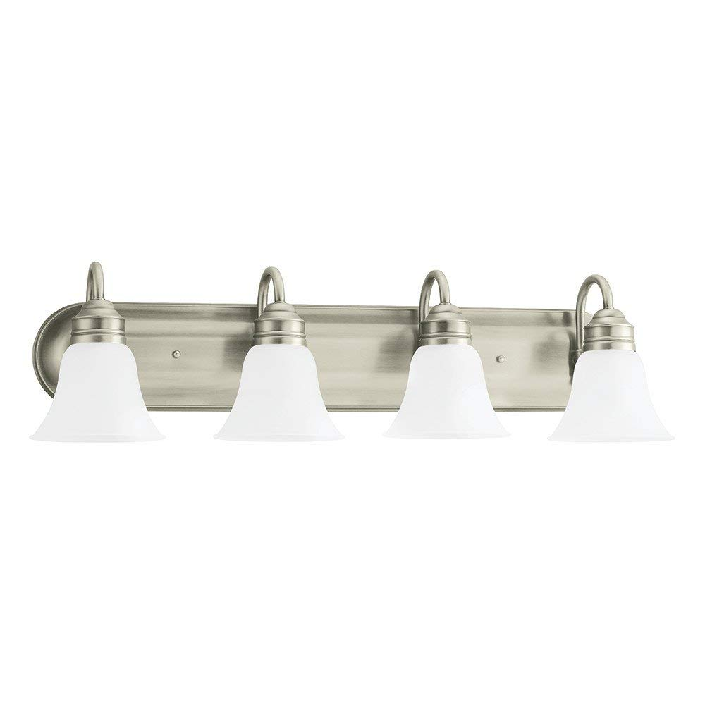 Sea Gull Lighting 44853-965 Gladstone Four-Light Bath or Wall Light Fixture with Satin Etched Glass Shades, Antique Brushed Nickel Finish