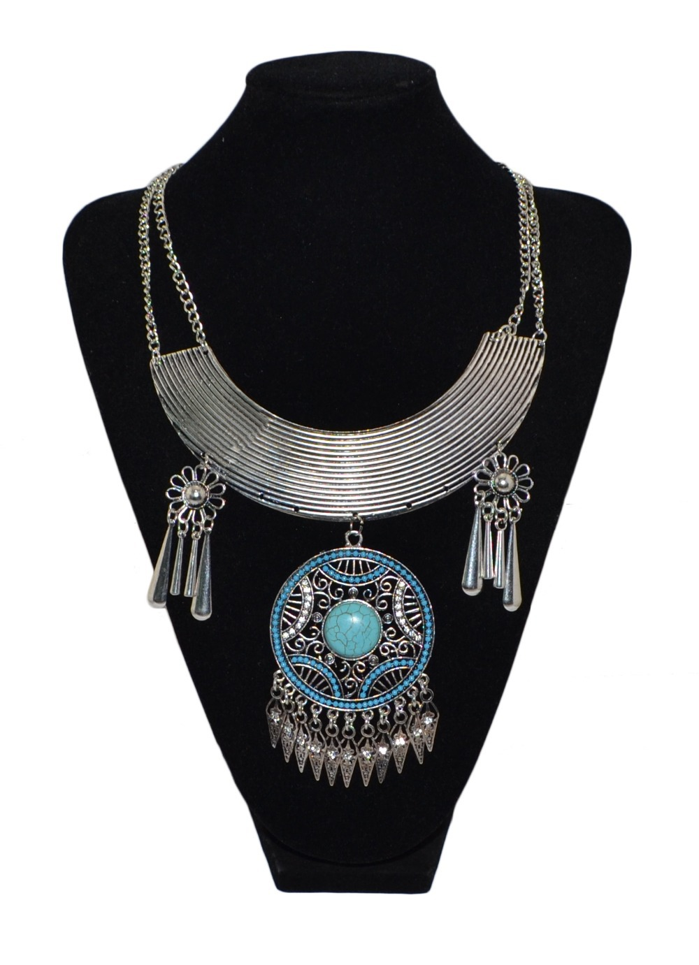 Boho vintage turquoise stone round charms max necklaces& pendants crystal flower tassel chunky choker necklace turkish jewelry